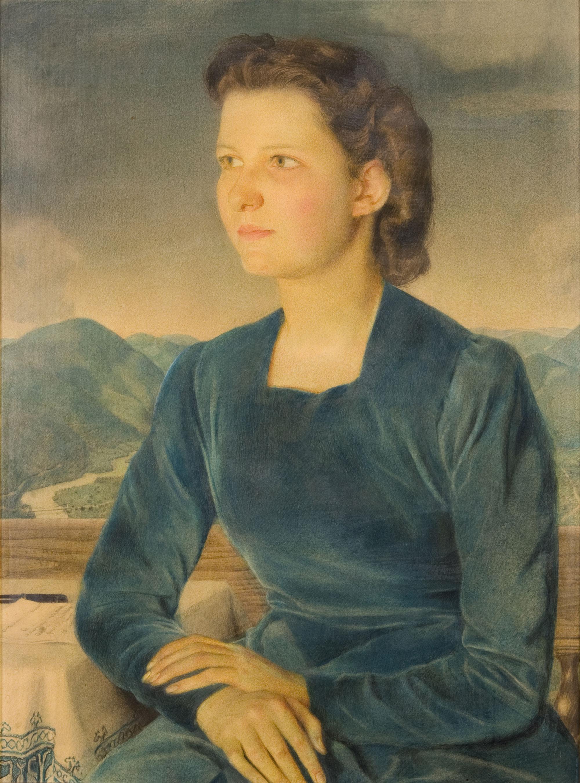 Jeune femme à la robe bleue (Louis Rivier, 1947)