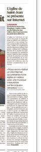 Article - 24Heures, 14 juillet 2016 : St-Jean de Cour