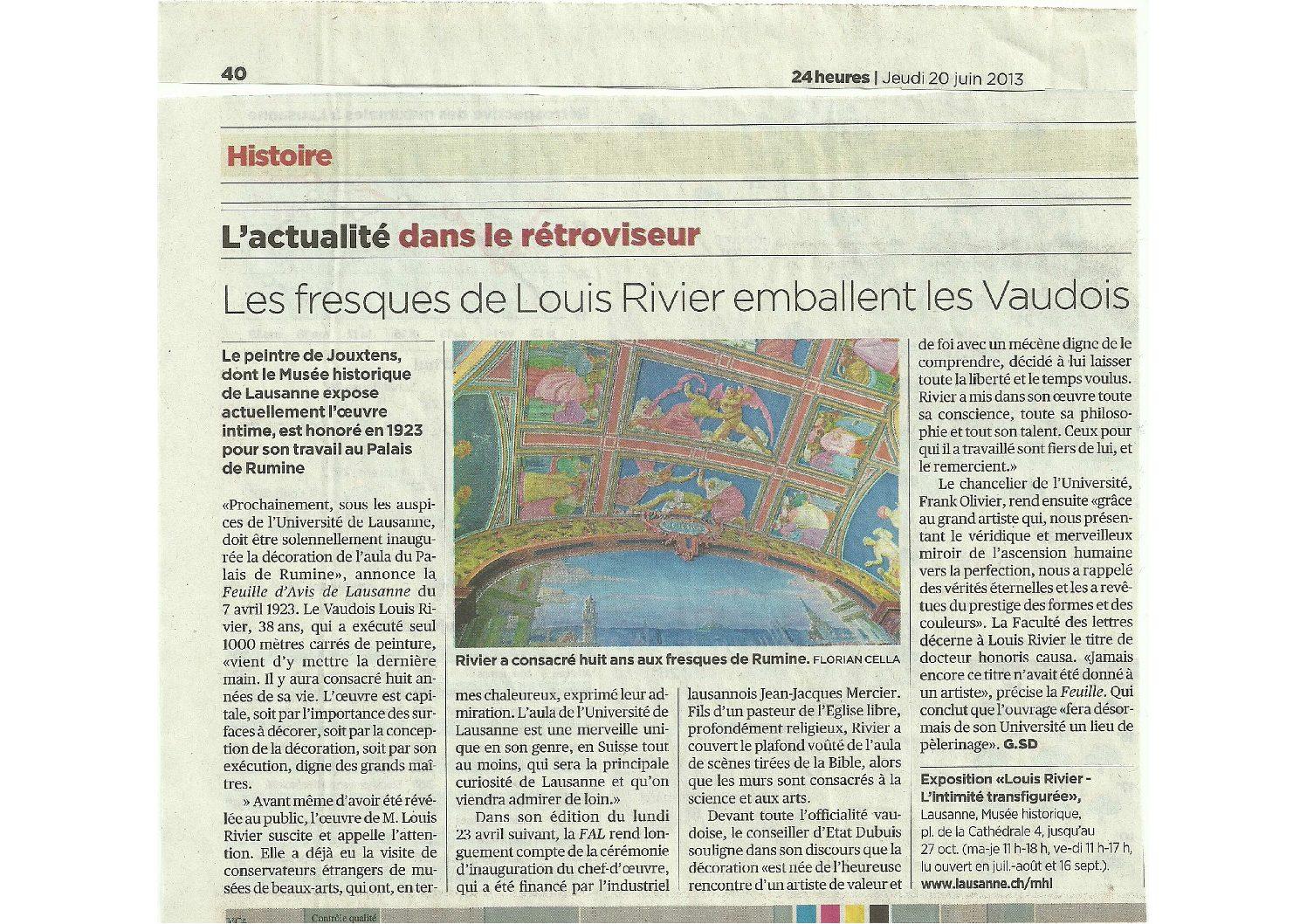 Article - 24Heures, 14juillet 2016 : St-Jean de Cour